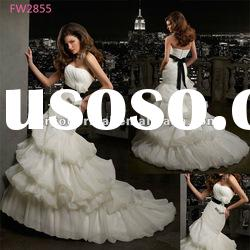 FW2855 Floor Length Strapless Wedding Dress 2012 Organza