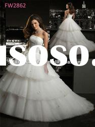 FW2862 Floor Length Strapless Wedding Dress 2012 Organza