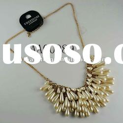 Fashion costume jewelry gold plated pearl necklace