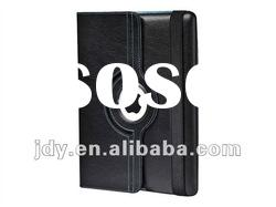 For ipad 3 swivel case stand smart cover -black lychee Polyurethane leather