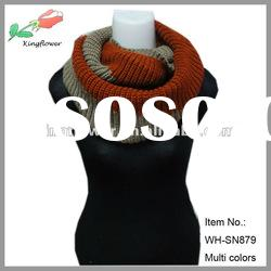 Hot selling two tones knitted circle loop scarf