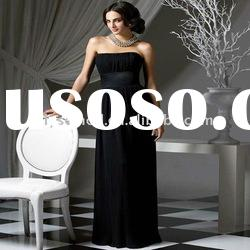 Modest Stylish Strapless Black Chiffon Long Plus Size Maternity Bridesmaid Dresses
