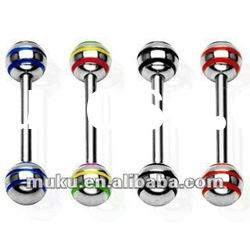 Multi-color Stripe 316L Surgical Steel Tongue Barbell Body Jewelry