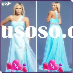 New Cheap Beautiful One Shoulder Sheath Beaded Ruffle Chiffon Designer 2012 New Model Prom Dress