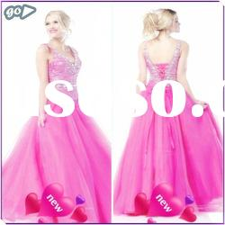 New Cheap Beautiful Straps Sheath Beaded Ruffle Tulle Satin Designer 2012 New Model Prom Dress