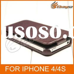 PY- Original Brand High Quality Cow Leather Flip Case For iPhone 4/4S LF-0459