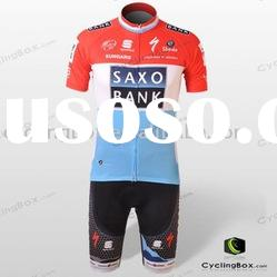 Pro team bicycle gear set for saxobank team Customized bicycle jersey