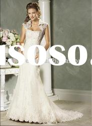 Short sleeve all over tull and lace A-line wedding dress 2011 (AG9052)