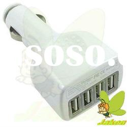 White 5V/2A 4 Port USB Micro Car Charger for iPad/iPad 2/New iPad/P7500/Touch Pad