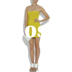 Yellow Double Sides Worn Lady Short Dress Lady Fashion Party Evening Dress C224