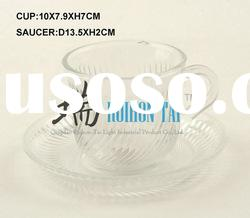 clear round cup saucer set