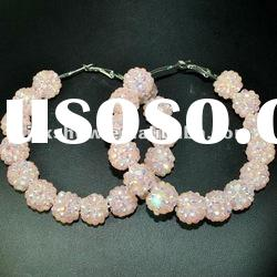 fashion multi light pink color resin beads basketball wives hoop earring