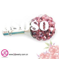 hot sell crystal pave beads Earphone jack dust plug