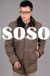 mens classic wool long jacket with double fur collar