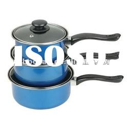 non stick carbon steel sauce milk pot / pan with glass lid / cover