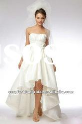 sweetheart ruffle flowers accented front short long back wedding dresses 2011