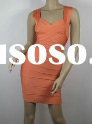 2012 Fashion Evening Dress,Orange Straps Cross On Bust Fashion Bandage Dress H036