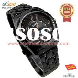 2012 round black steel case and band watch for men