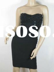 Black Strapless HL Lady Evening Party Celebrity Dress H023