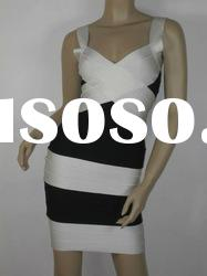 Black With White Cross On Bust Fashion Bandage Dress Celebrity Evening Dress H001