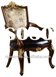 D127-47 high quality solid wood hand carving leather dining chair