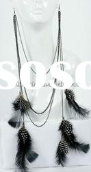 Fashion Jewelry-2011 Best selling long chain feather earrings