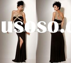 Newest P2067 Sheath Crystal Beaded Wide Strap Side-slip Charmeuse Evening Dress