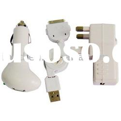 UK Socket Plug 3 in 1 Charger for iPad (Car charger, travel charger, USB charger & data cable)