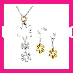 fashion stainless steel necklace and earring wedding set jewelry for girls