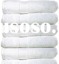 white cotton plain bath towel with border