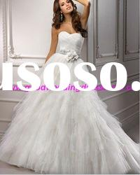 2012 New Style White Tulle Sweetheart Beaded Flowers Ball Gown Bride Wedding Dress