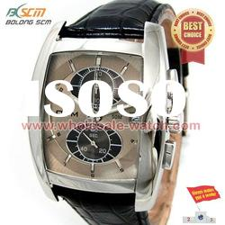 2012 stainless steel case leather band men watch