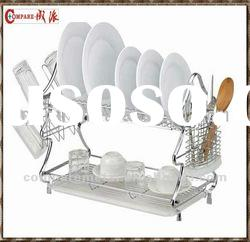2 tier chrome wire dish drainer with tray