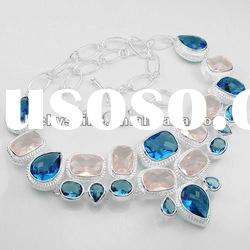 Fantasy wedding accessories diamond necklace charms blue Topaz
