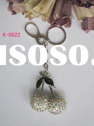 Fashionable design charming elegant colorful crystal rhinestone cherry pendant key chain holder