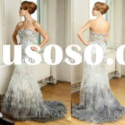 SC1572 Elegant latest dress designs beaded and feather evening dress fashion 2012 by Terani couture