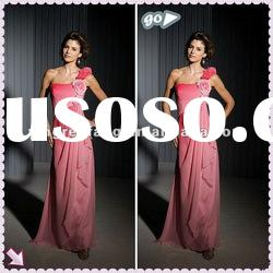 Speacial Design One-Shoulder Hand Made Flower Ruffl Sheath Chiffon Mother Of The Bride Dresses 2012