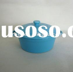 colorful ceramic round casserole pot with lid