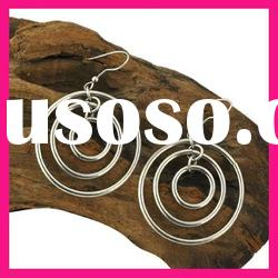 fashion stainless steel three circle cheap dangling hoop earrings for women