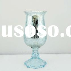 light blue hurrican glass candle holder with crackle and mercury effect