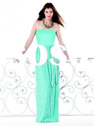 luxurious vip satin evening dress 2011 with strapless neckline and lace-up-back