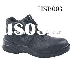middle cut black leather safety shoes with 200J steel toe cap