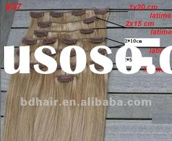 top quality human remy hair 2012 hot selling wholesale clip in hair european hair extension
