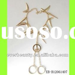 2012 Hot Sales Fashion Gold Plated Chains Rivet Bracelets with Rings