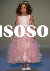 2012 New Arrives Organza A-line Beaded White Navy Blue Embroidery Flower Girl Dress