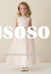 2012 New Arrives Organza A-line Lace Applique Flower Girl Dress Without Train