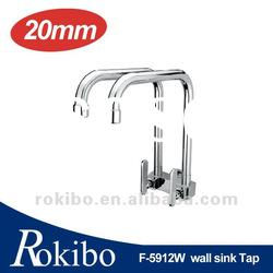 Brass single lever wall sink double spout faucet