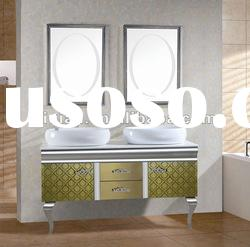 Double Sink Free Standing Stainless Steel Bathroom Cabinet