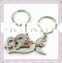 Fashion Lover Zinc Alloy Metal Keyring /Keychain With Diamond