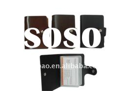 Geunine leather and PVC business card holder